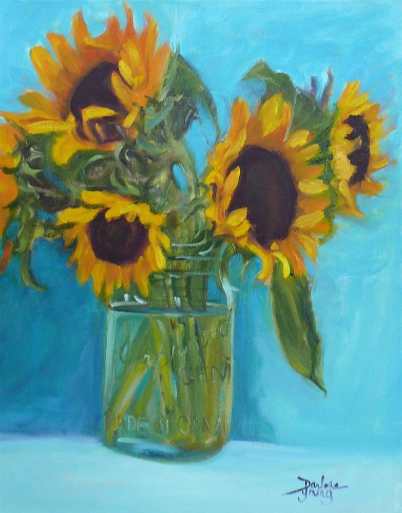 """695 Sunflowers in a Jar"" original fine art by Darlene Young"