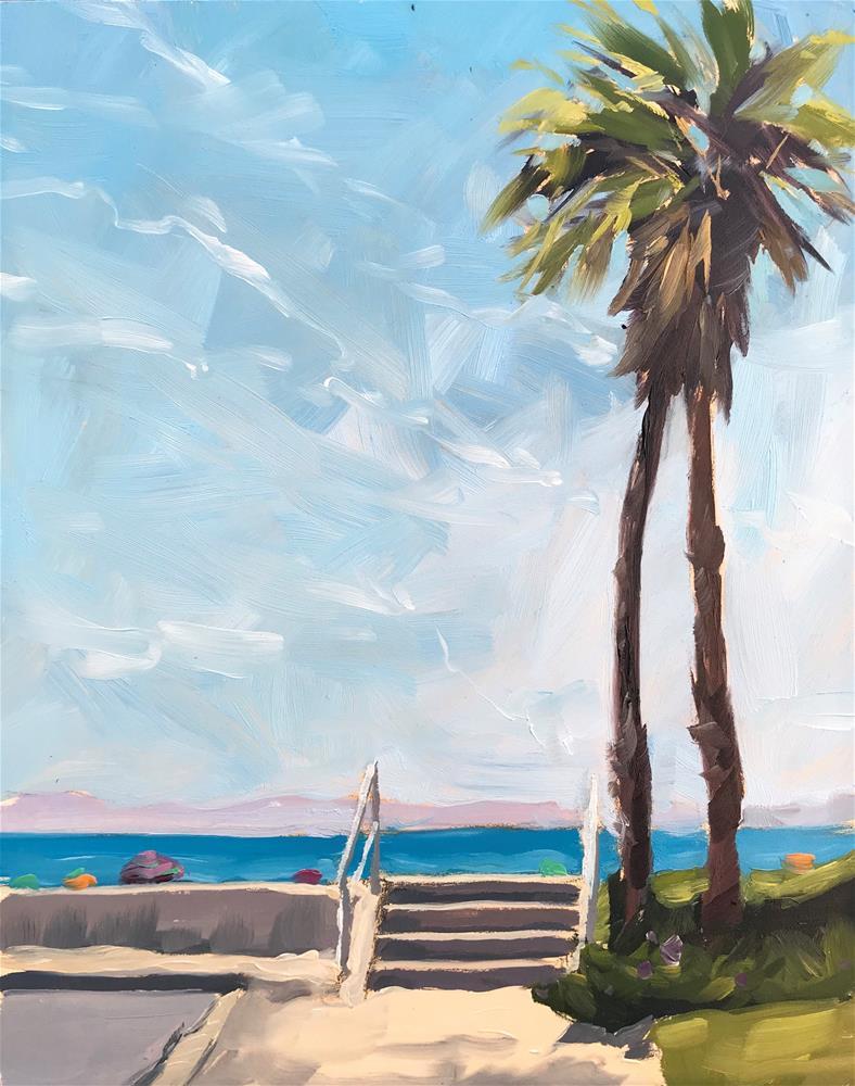 """""""First Beach Palms, Plein Air"""" original fine art by Sharon Schock"""