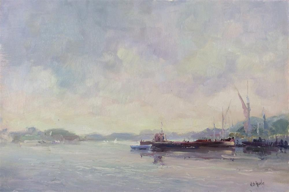 """""""Morning on The Orwell"""" original fine art by John Shave"""