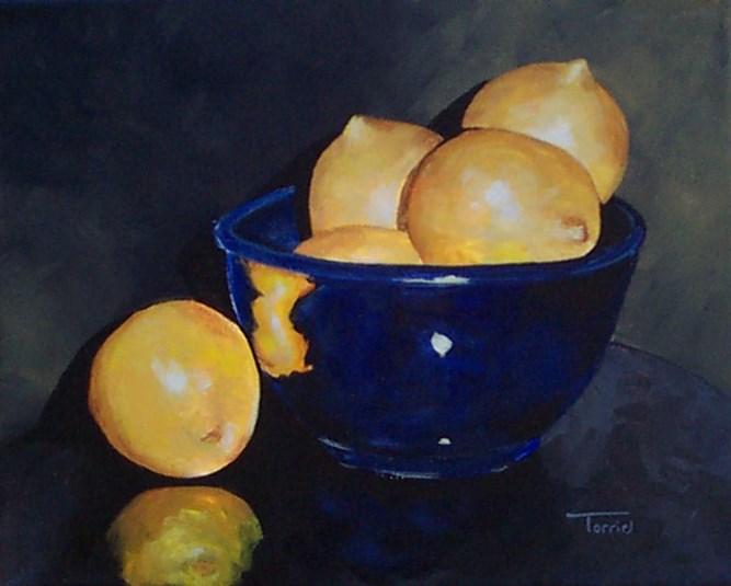 """""""Lemons in Blue Bowl II"""" original fine art by Torrie Smiley"""