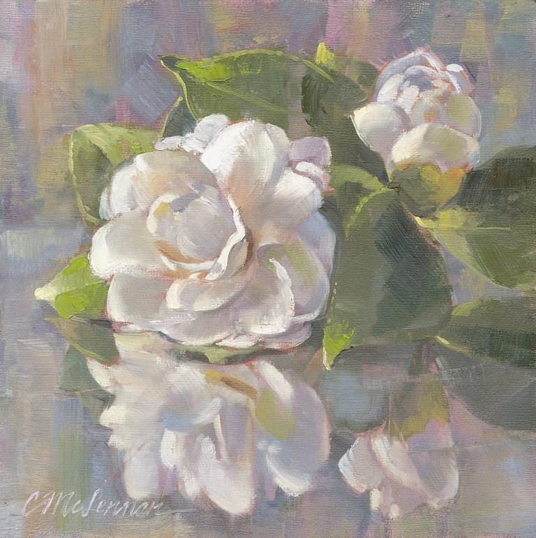 """First Camellia"" original fine art by Connie McLennan"
