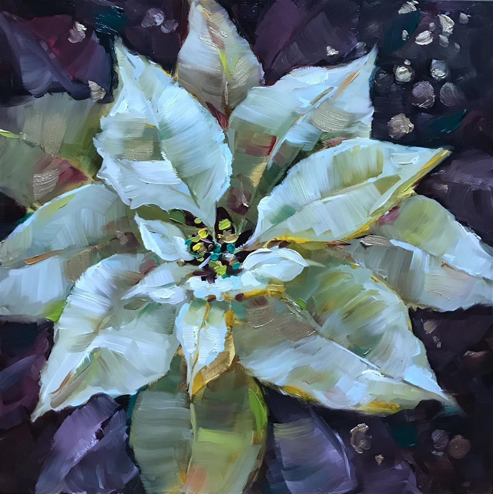 """Frosted Light White Poinsettias"" original fine art by Nancy Medina"