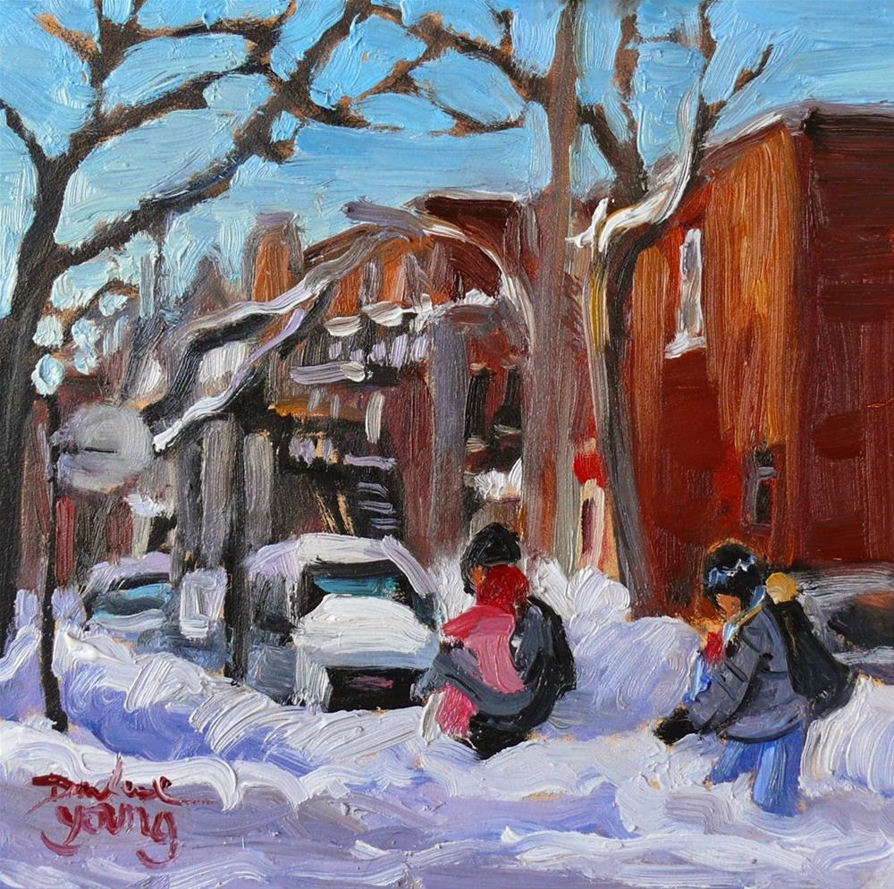 """809 Montreal Winter, Young Family, 6x6, oil"" original fine art by Darlene Young"