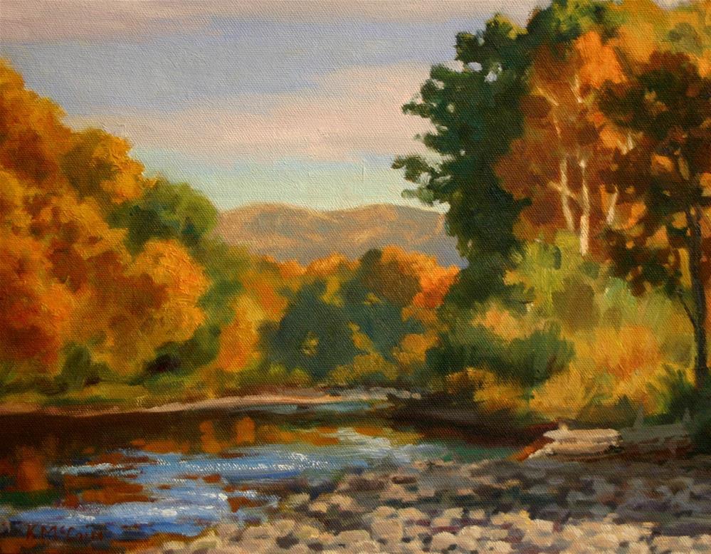 """Fall on the River"" original fine art by K.R. McCain"