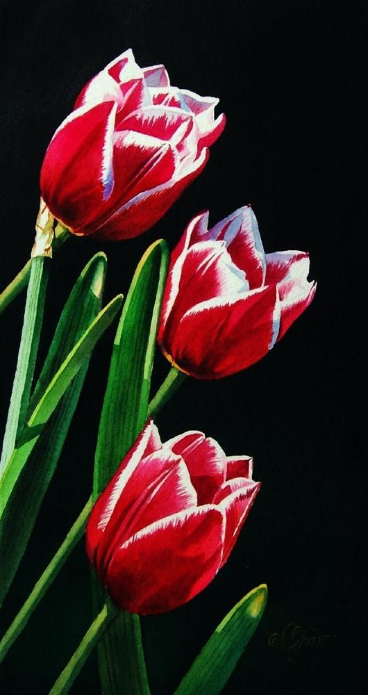 """""""Tulips trimmed in White"""" original fine art by Jacqueline Gnott, TWSA, WHS"""