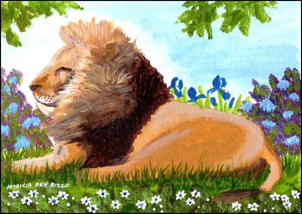 """""""A Lion in my Garden"""" original fine art by Patricia Ann Rizzo"""