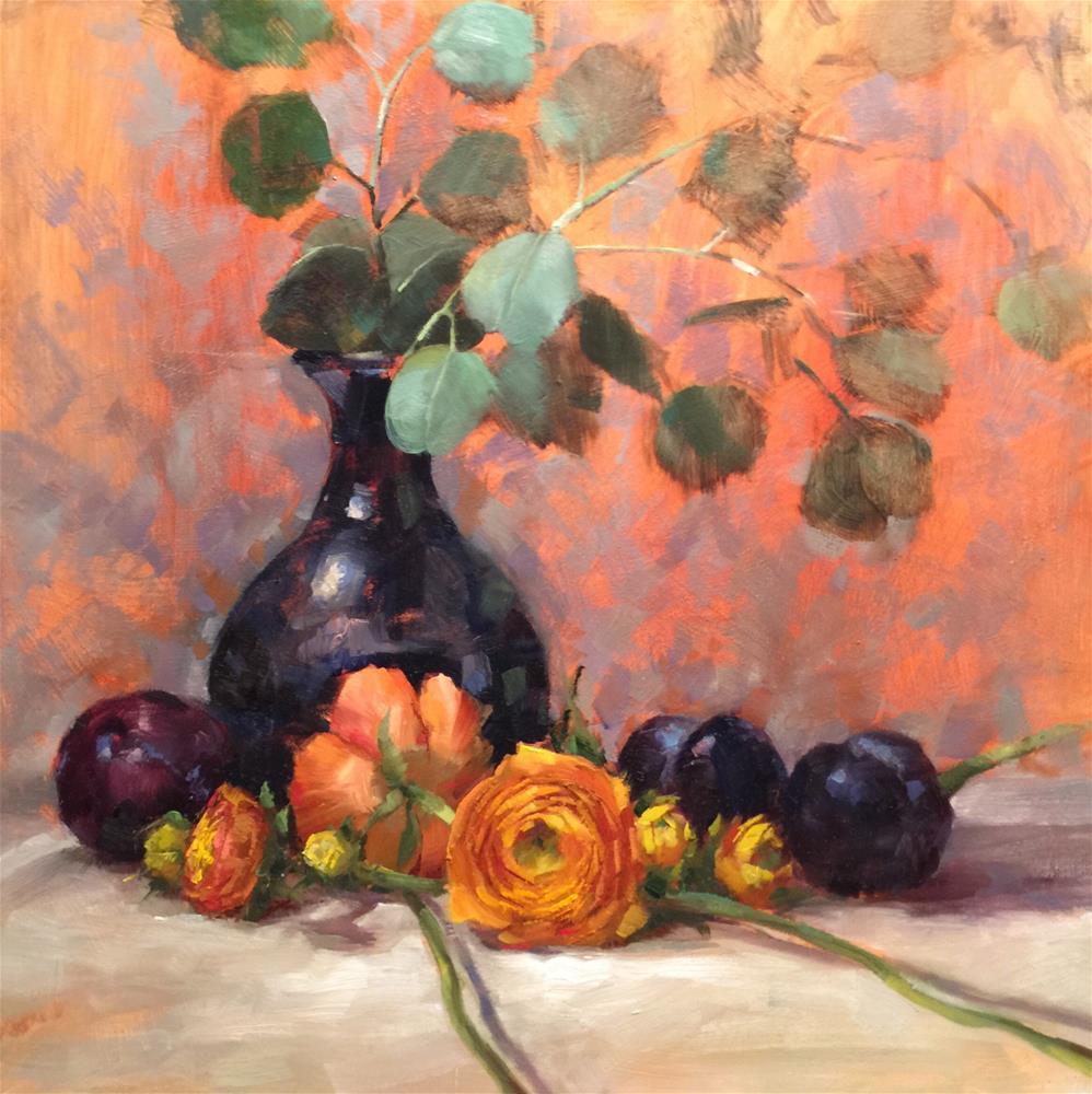 """""""Ranunculus & Plums"""" original fine art by Krista Eaton"""