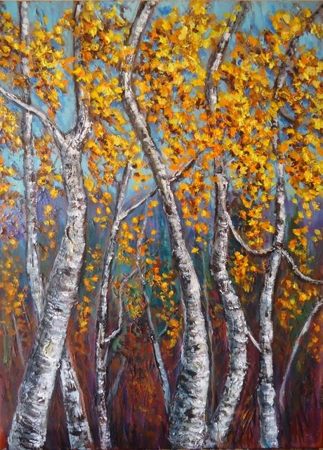 """Impasto Autumn Yukon Birch"" original fine art by Jackie Irvine"
