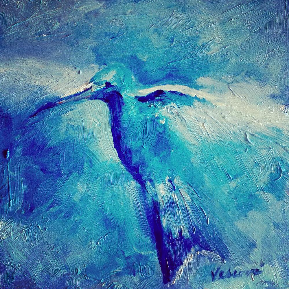 """Blue Hummingbird"" original fine art by Valerie Vescovi"