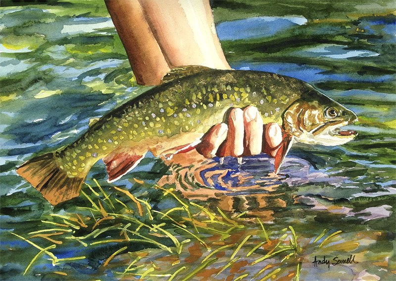 """""""The Brookie Release"""" original fine art by Andy Sewell"""