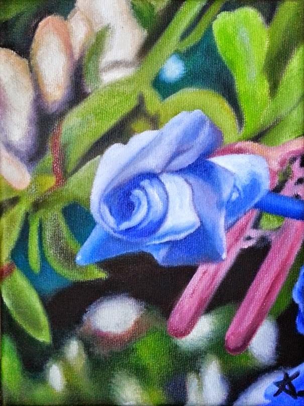 """tiny blue"" original fine art by Konstantia Karletsa"