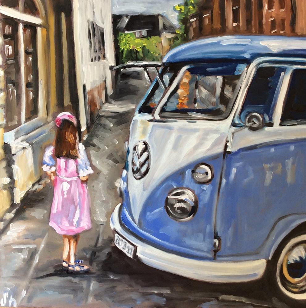 """VW Bus and little girl"" original fine art by Sonja Neumann"