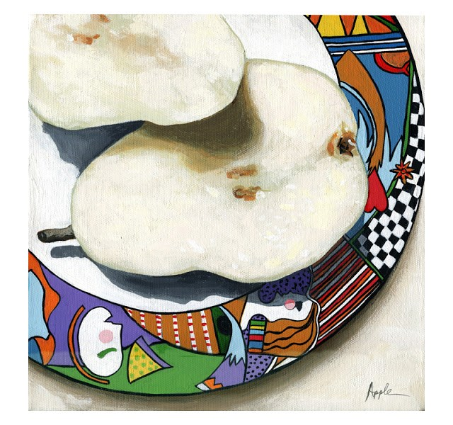 """""""Morning Pears on colorful plate - still life painting"""" original fine art by Linda Apple"""