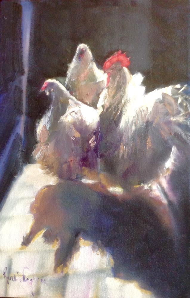 """""""Cooped up"""" original fine art by Rentia Coetzee"""