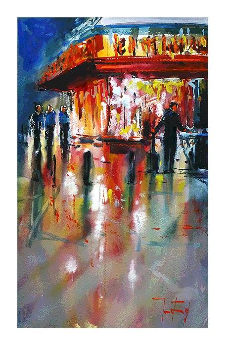 """Streets of Paris"" original fine art by Jurij Frey"
