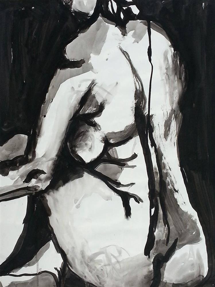 """Nude Seated"" original fine art by Nava Judith"