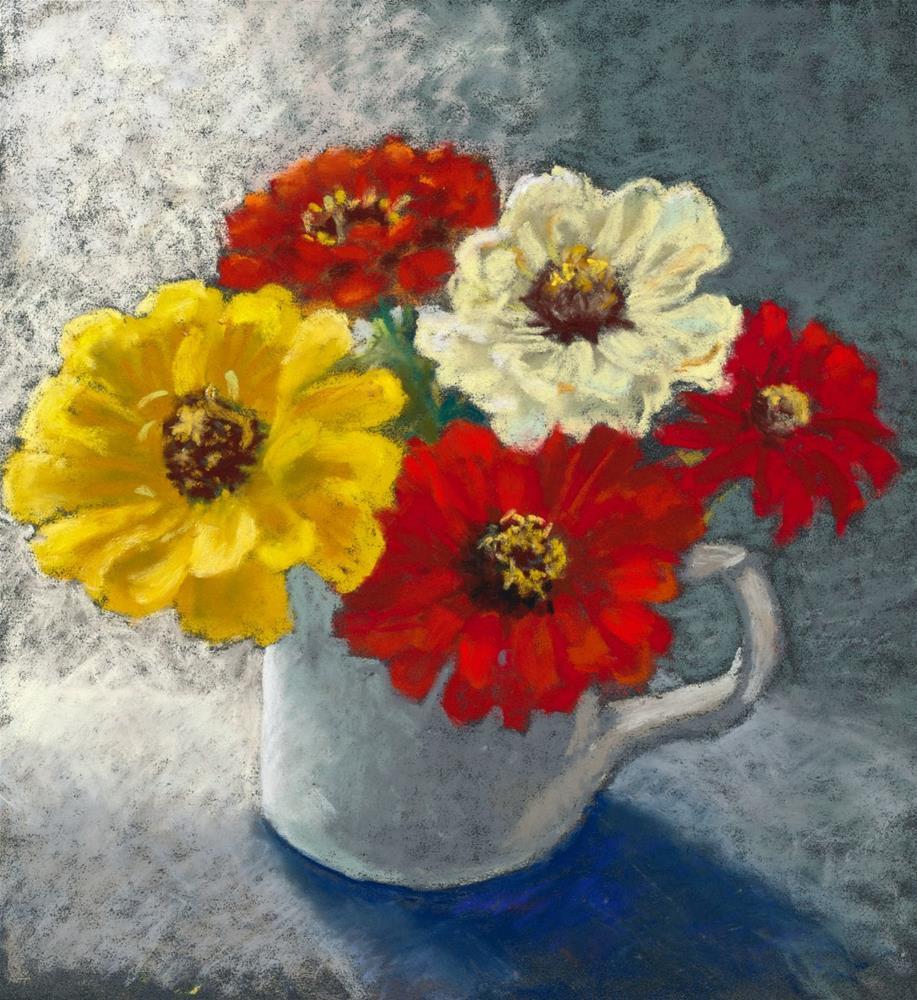 """""""Zany Zinnias"""" original fine art by Christine Derrick"""