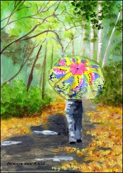 """""""Bright Umbrella, Rainy Day"""" original fine art by Patricia Ann Rizzo"""