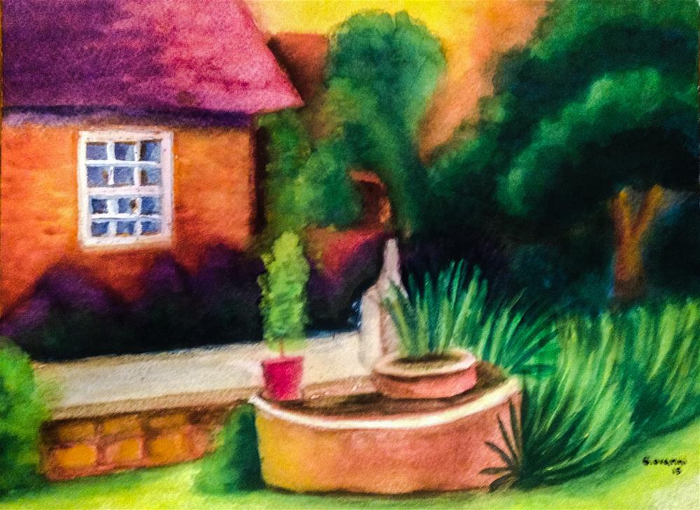 """The house and the garden"" original fine art by Giovanni Antunez"