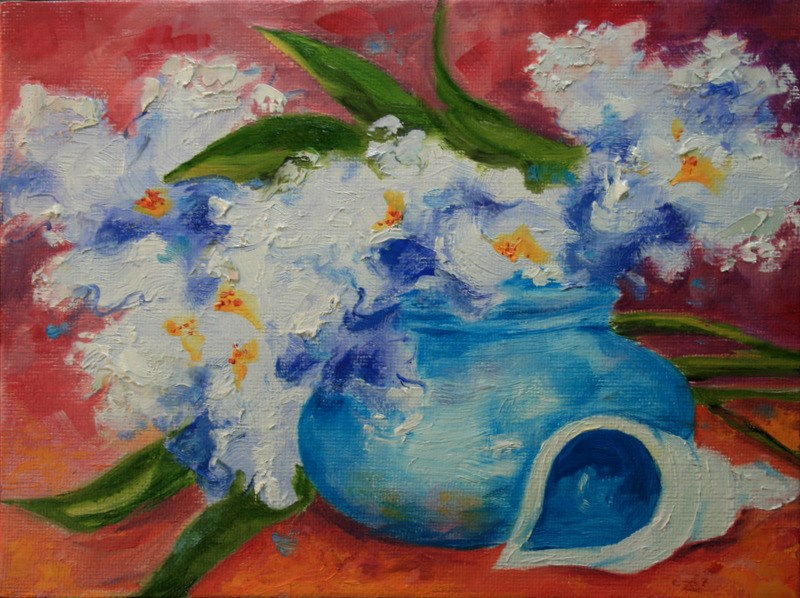 """""""Irises with Shell"""" original fine art by Jean Nelson"""