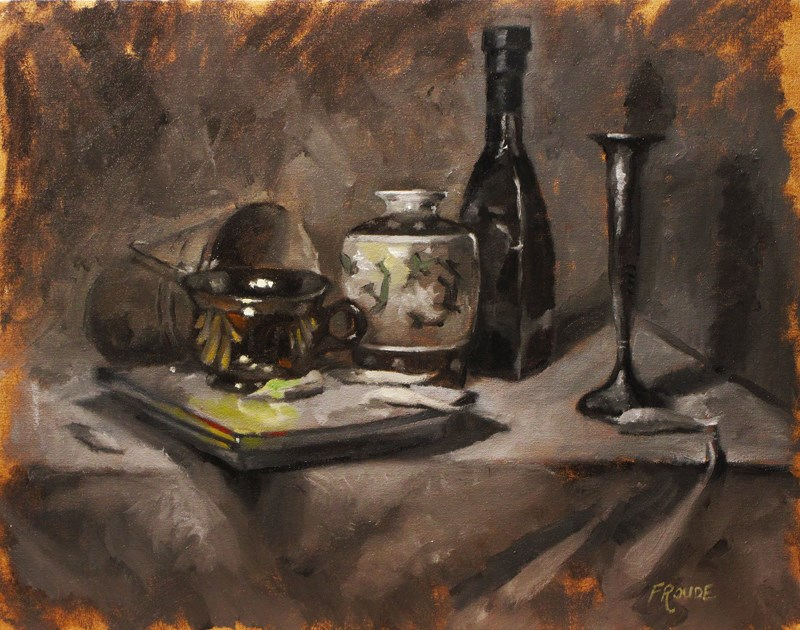"""Brown. cup and plate"" original fine art by Dave Froude"