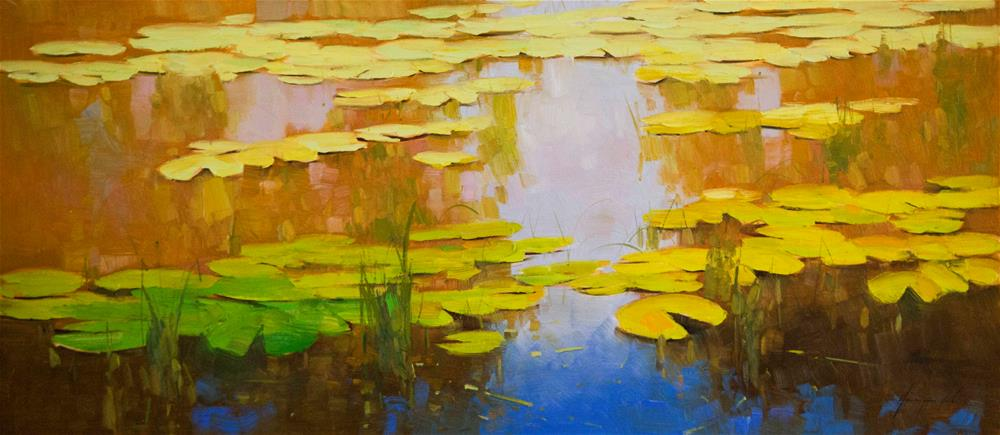 """Water lilies oil Painting Large size"" original fine art by V Y"