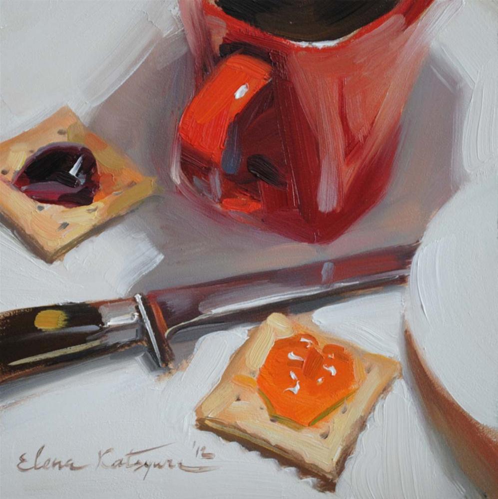 """Coffee Cup & Crackers"" original fine art by Elena Katsyura"