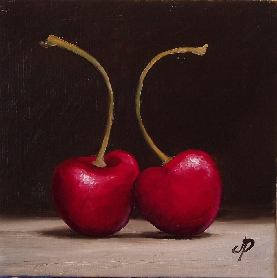 """Cherry pair"" original fine art by Jane Palmer"