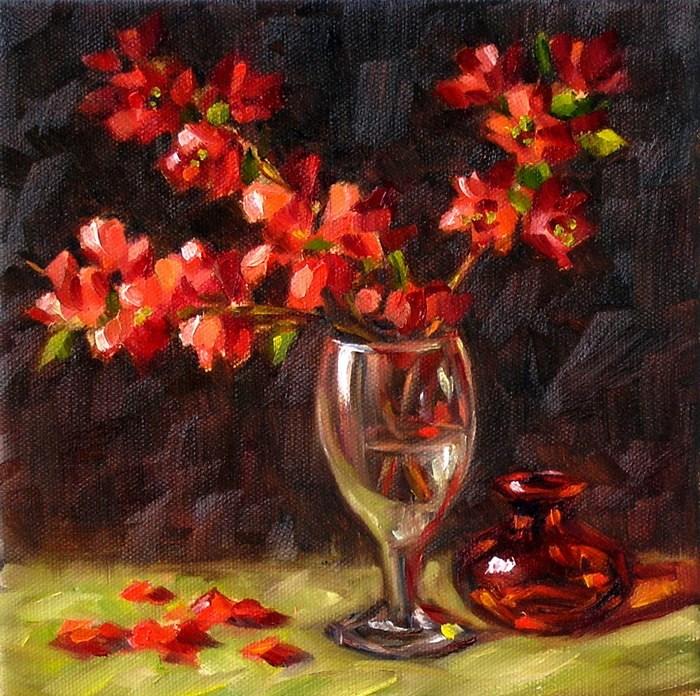 """Flowering Quince in a wine glass"" original fine art by Irina Beskina"
