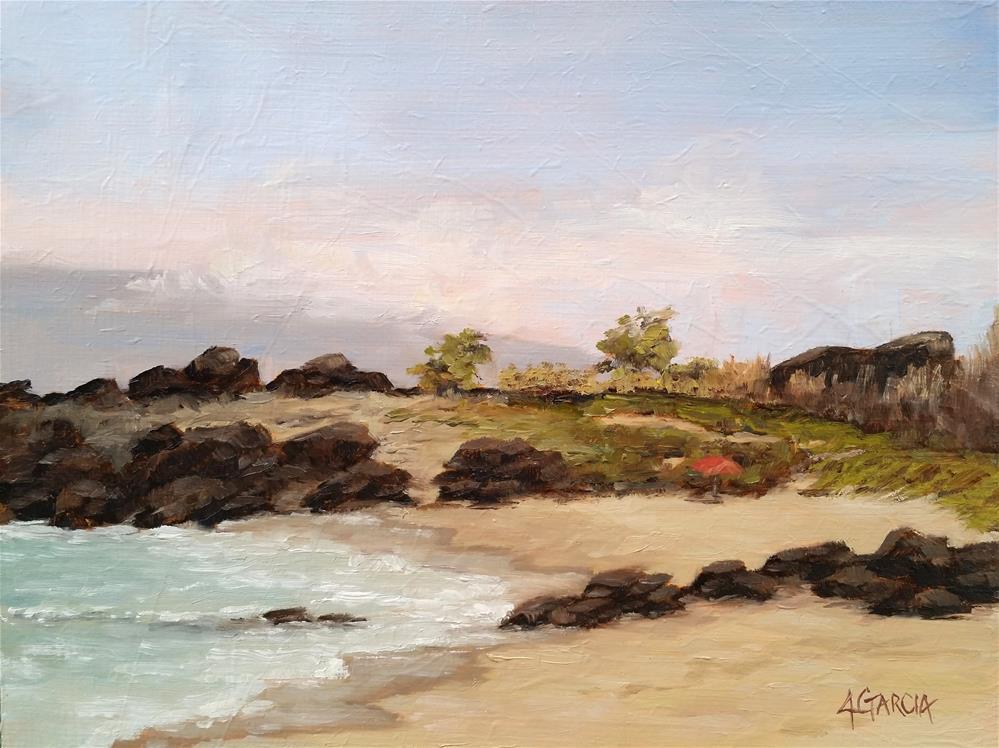 """Morning Dip at Kua Bay"" original fine art by Jeannie Garcia"