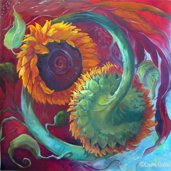 """""""The Symbiotic Dance of Balance and Bliss"""" original fine art by Laura Gable"""