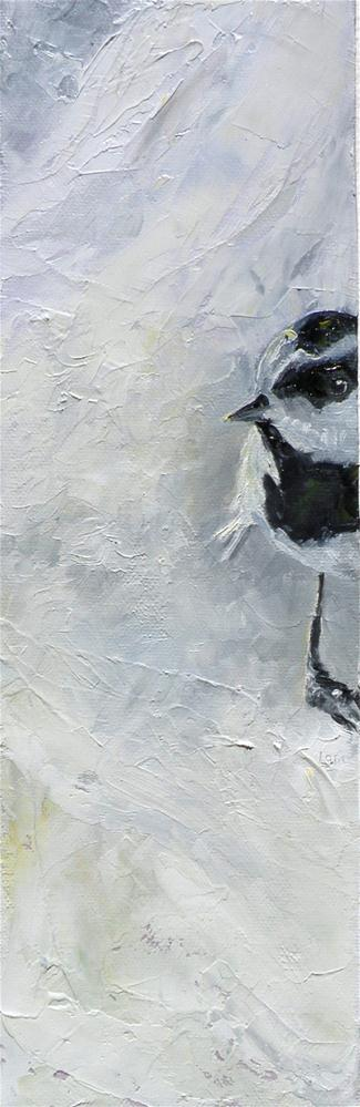 """TWO LEFT FEET - A CHICKADEE ORIGINAL OIL ON WRAPPED CANVAS © SAUNDRA LANE GALLOWAY"" original fine art by Saundra Lane Galloway"