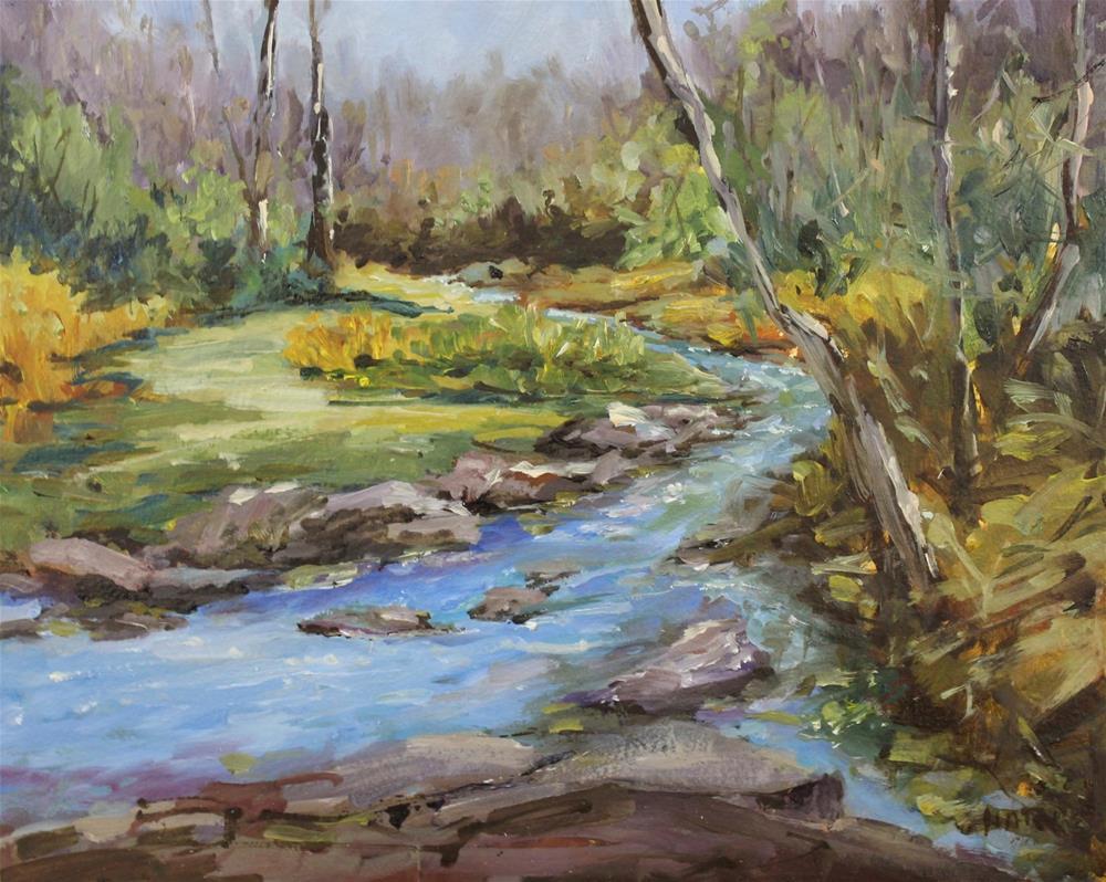 """Original oil landscape creek stream painting"" original fine art by Alice Harpel"
