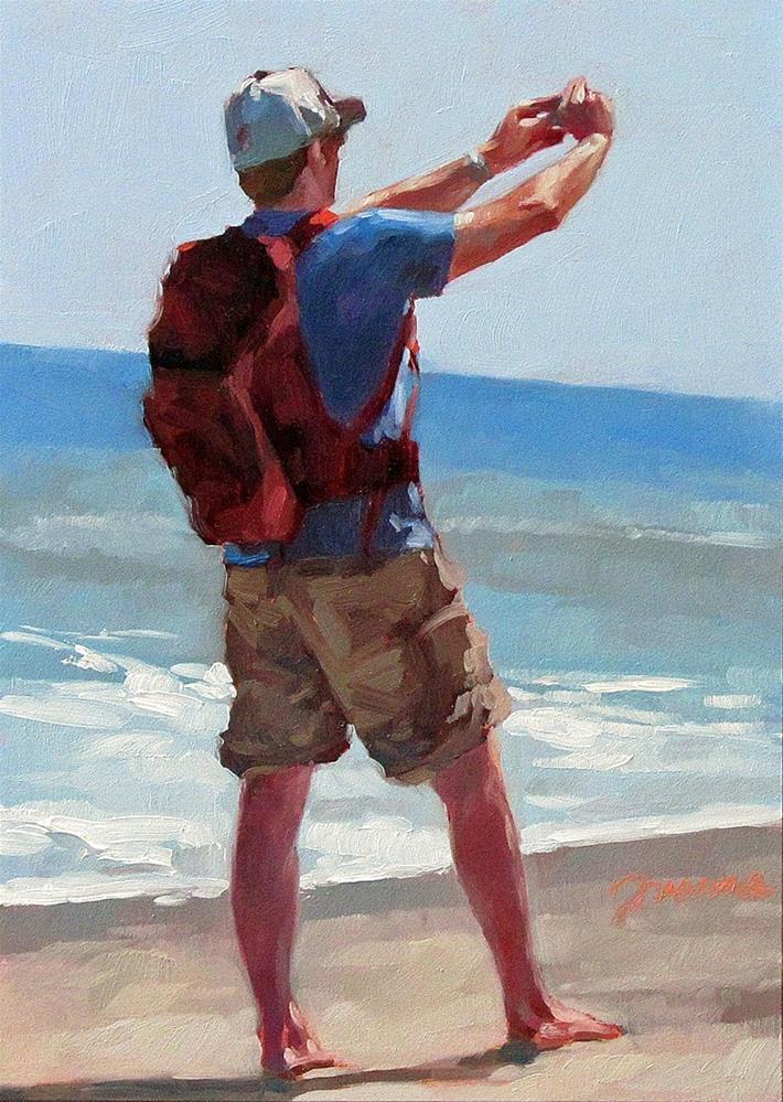 """""""Just Arrive--Painting of Beach Selfies"""" original fine art by Joanna Bingham"""