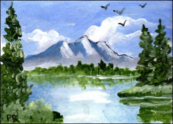 """""""Mountain ACEO"""" original fine art by Patricia Ann Rizzo"""