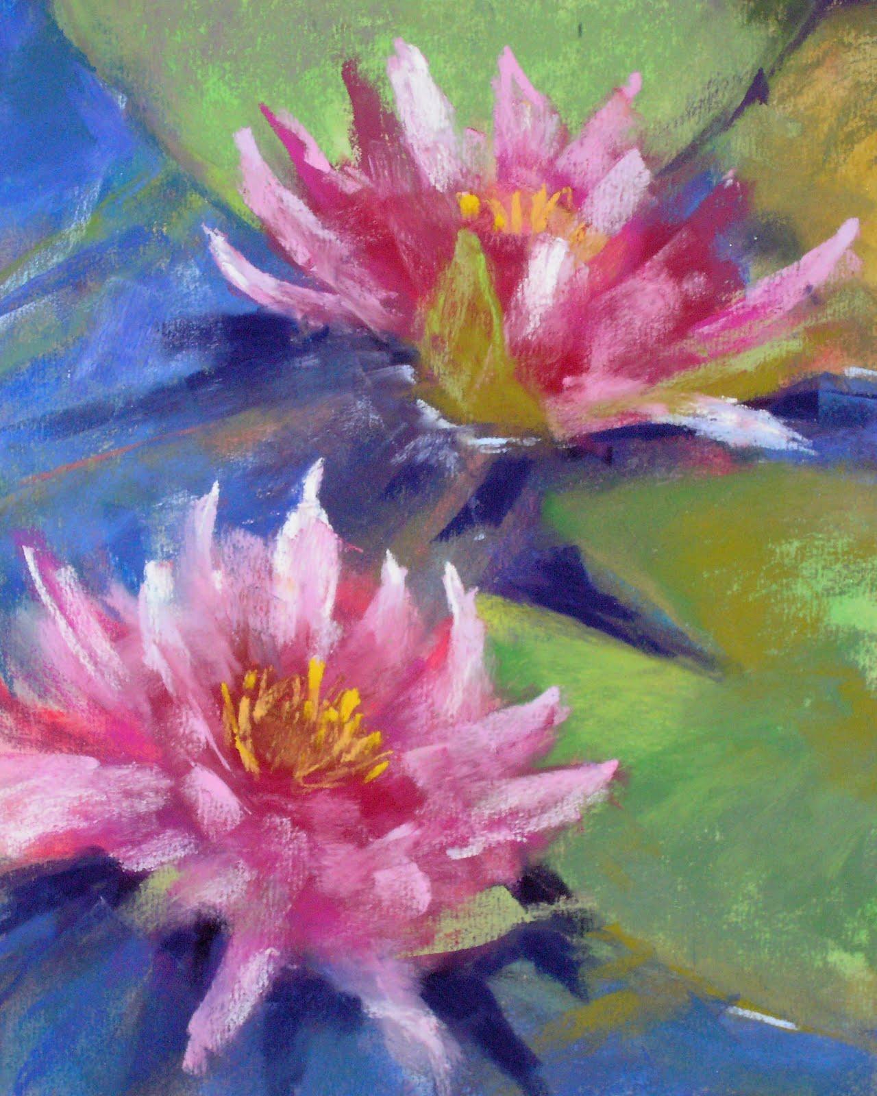 """Pink Water Lilies"" original fine art by Karen Margulis"