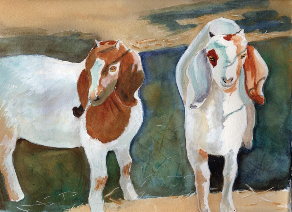 """Goats"" original fine art by Bunny Griffeth"