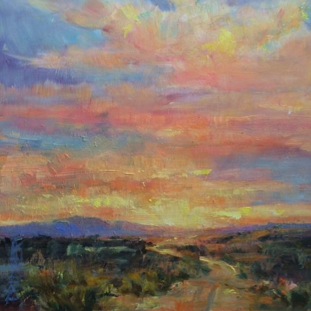 """Mesilla Valley Sunset"" original fine art by Lindy Bridgers"