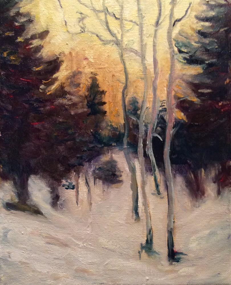 """Evening light on winter trees"" original fine art by Kathryn Ross"