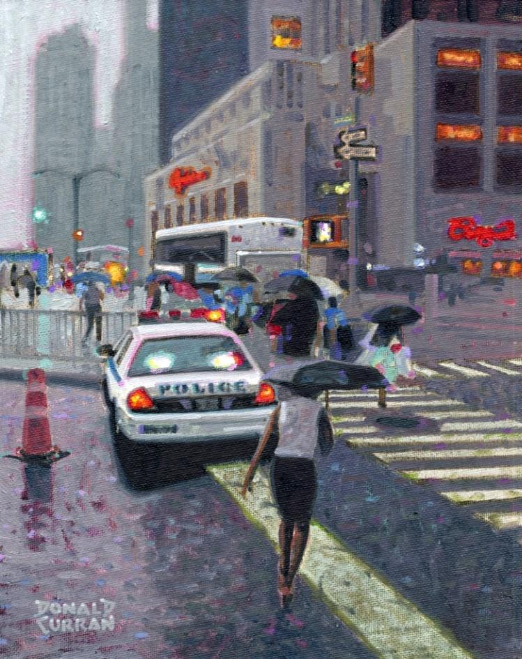"""Rainy Day New York"" original fine art by Donald Curran"
