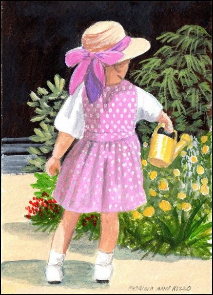 """""""The Little Gardener"""" original fine art by Patricia Ann Rizzo"""