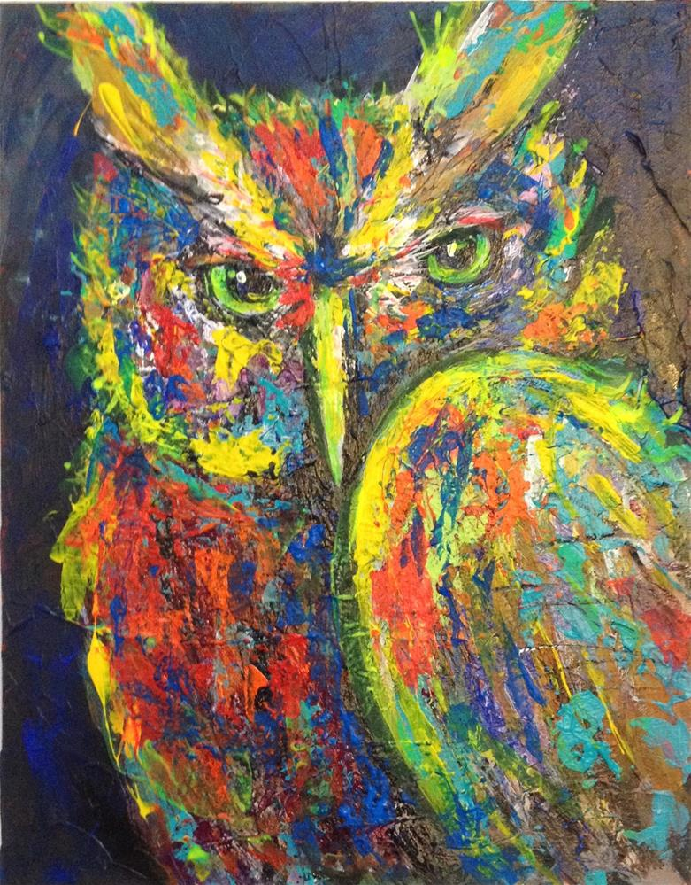 """""""11x14 Acrylic Psychedelic Owl Abstract Impressionistic Impasto by Penny Stewart"""" original fine art by Penny Lee StewArt"""