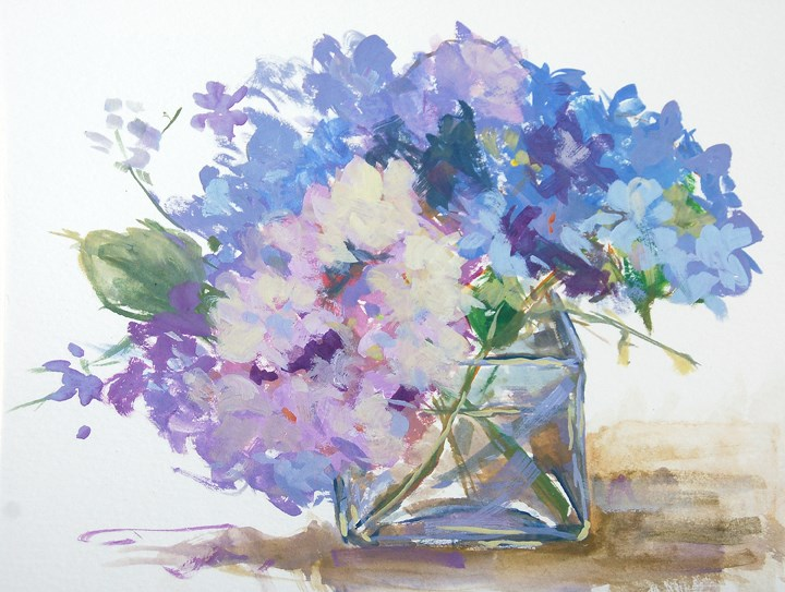 """Hydrangeas"" original fine art by Deb Kirkeeide"