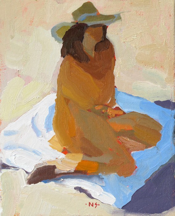 """""""Blanket Figure with Hat 12041  (in a private collection)"""" original fine art by Nancy Standlee"""