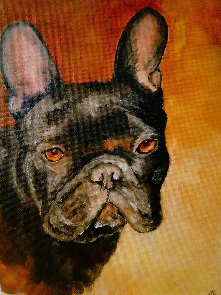 """""""Frenchie 3 & something about colour mixing"""" original fine art by Karen Robinson"""