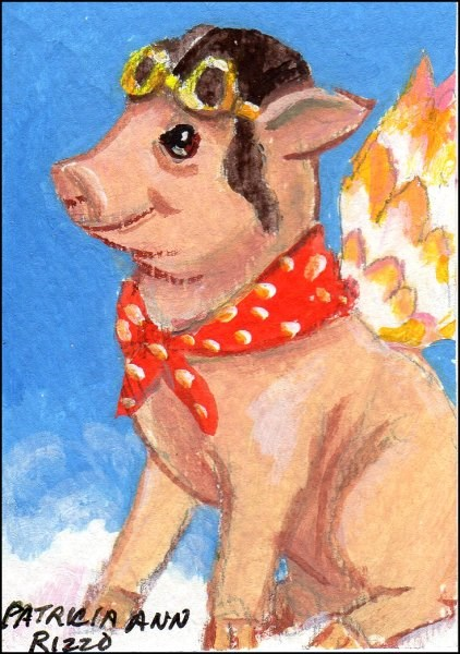 """""""Yes, Pigs Can Fly"""" original fine art by Patricia Ann Rizzo"""