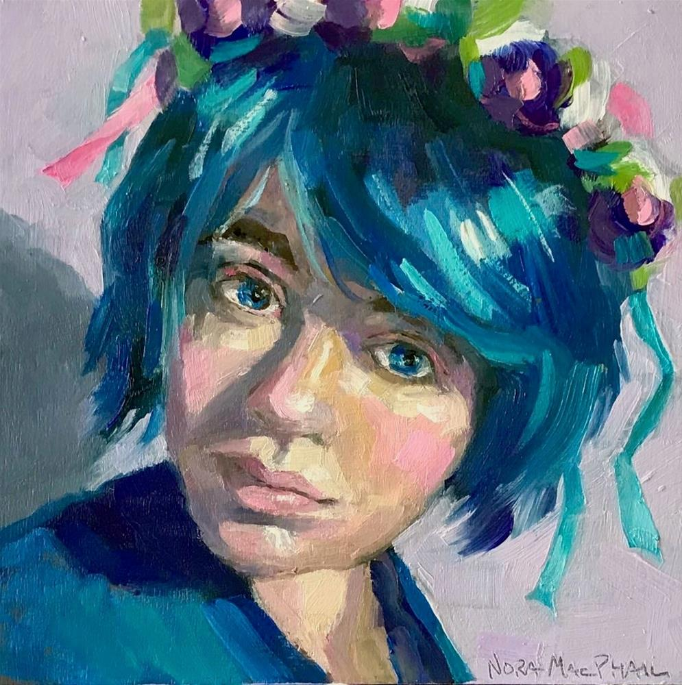 """portrait in blue"" original fine art by Nora MacPhail"