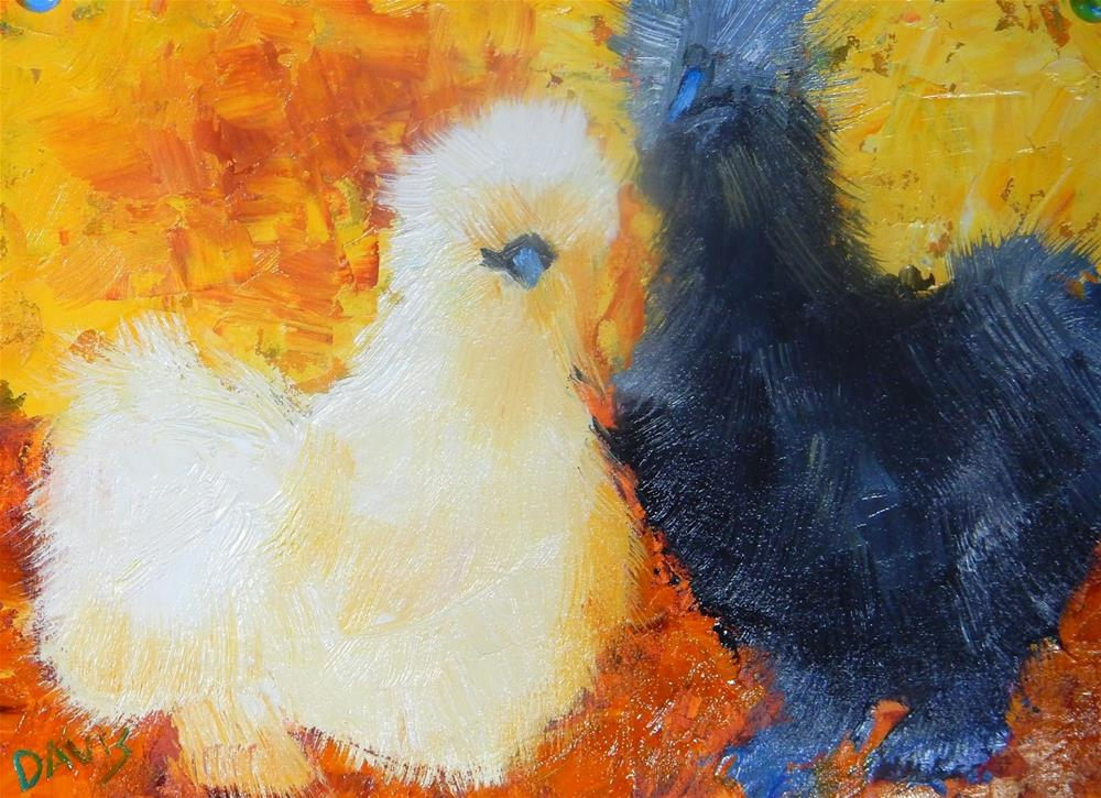 """Fluffy and Rosa"" original fine art by Phyllis Davis"