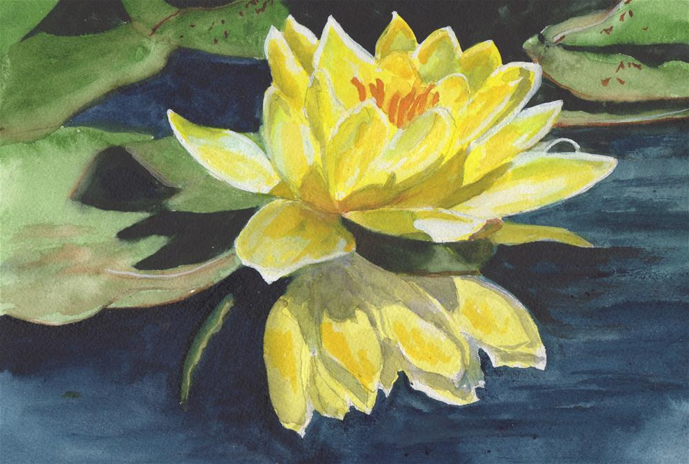 """""""Yellow Water Lily"""" original fine art by Bunny Griffeth"""