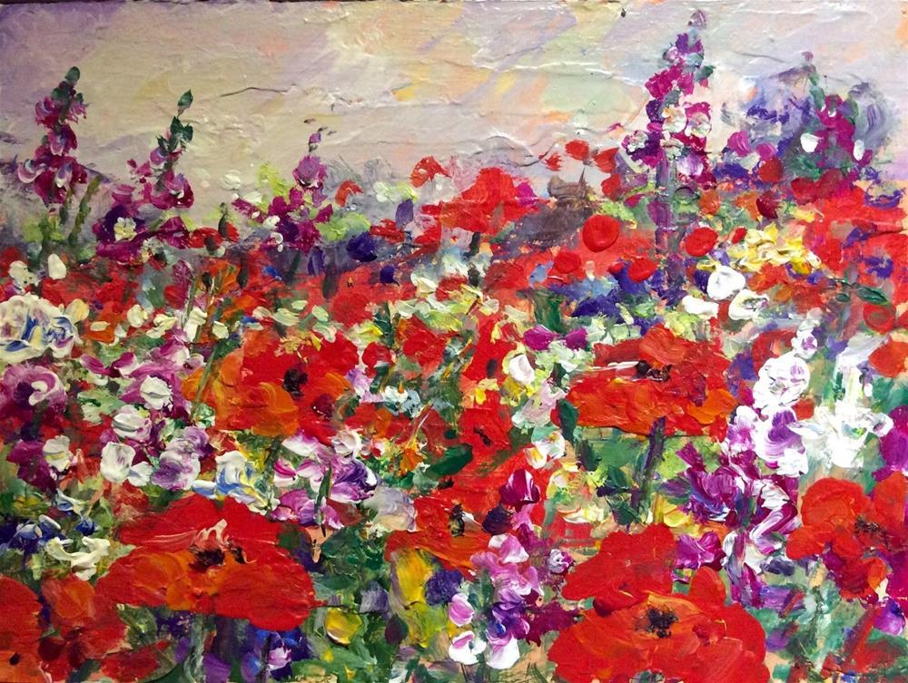 """""""Poppies and wild flowers field"""" original fine art by Sonia von Walter"""